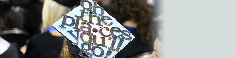 Mortarboard that says Oh the places you'll go, taken at UMass Boston's commencement